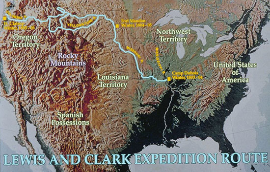 Map of the Lewis and Clark Expedition Route